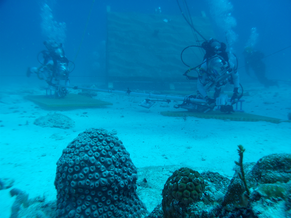 With the famous Key Largo coral in the foreground, weightless Aquanauts use an extravehicular activity (EVA) boom prototype to translate across the seafloor, simulating translation across the surface of an asteroid. Image Credit: NASA