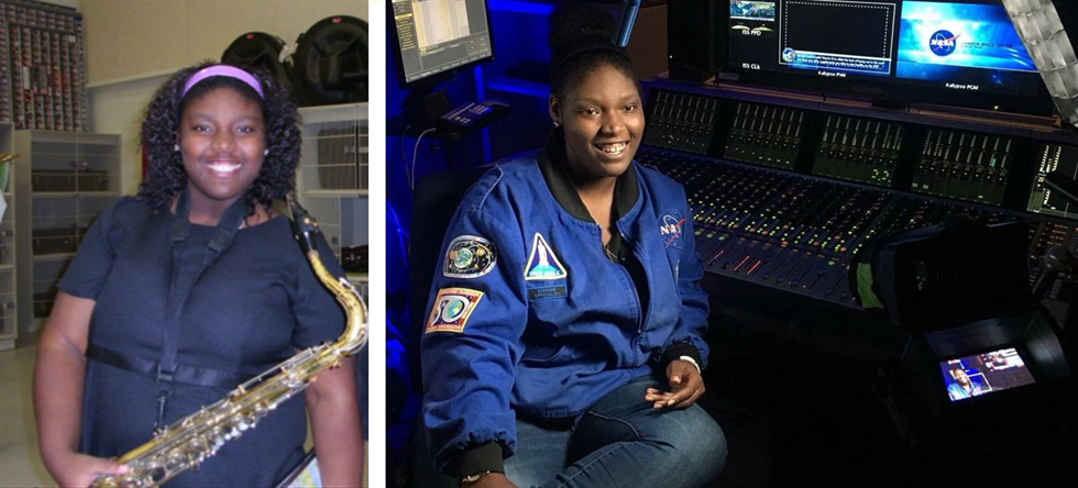 Then and now: Alexandria Perryman at band practice (left), and Perryman in the audio suite today (right).