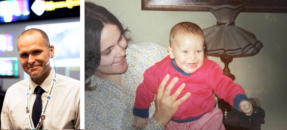 Then and now: Andrew Rechenberg on console at mission control (left), and with his mother as a toddler (right).