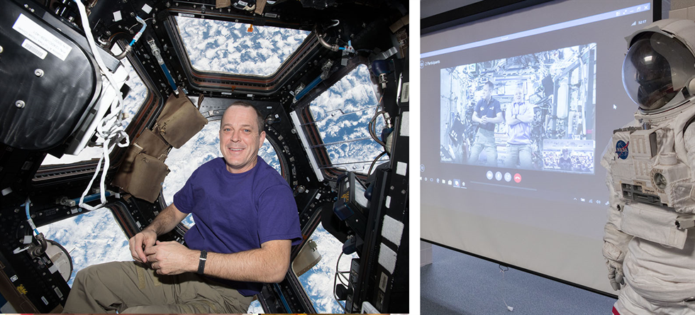 Then and now: Ricky Arnold in the space station's cupola (left), and Arnold answering student questions during an education downlink with Brookwood Elementary School.