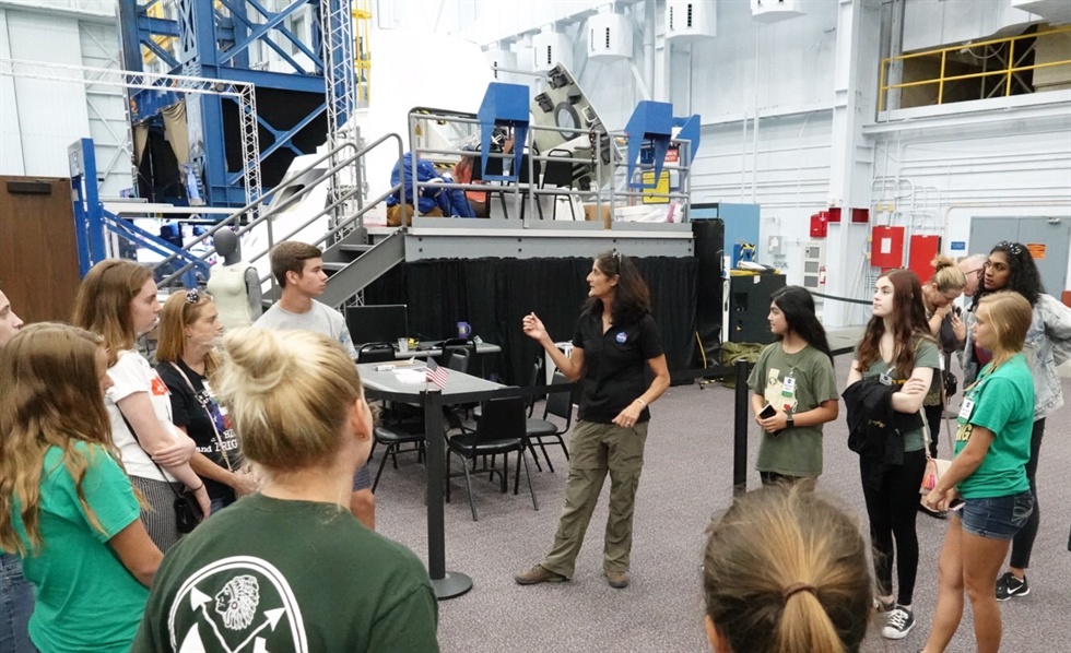 Astronaut Suni Williams describes her work aboard the International Space Station as students tour the SVMF.
