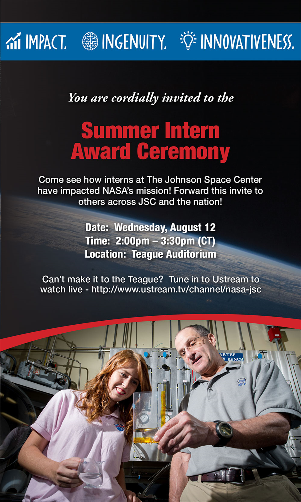 JSC Features - You're invited! Summer Intern Award Ceremony Aug. 12 - https://roundupreads.jsc ...