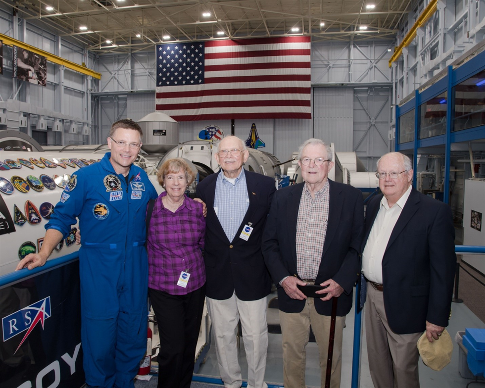 Astronaut Doug Wheelock shows off the Space Vehicle Mockup Facility to the guests. Image credit: NASA