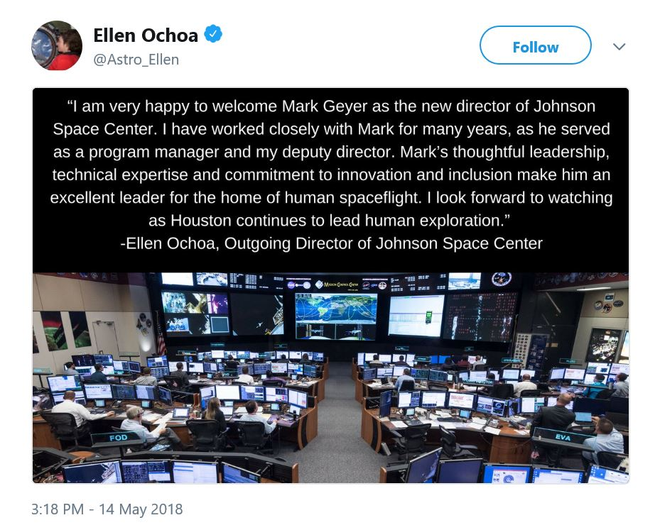 Tweet from @Astro_Ellen congratulating Mark Geyer