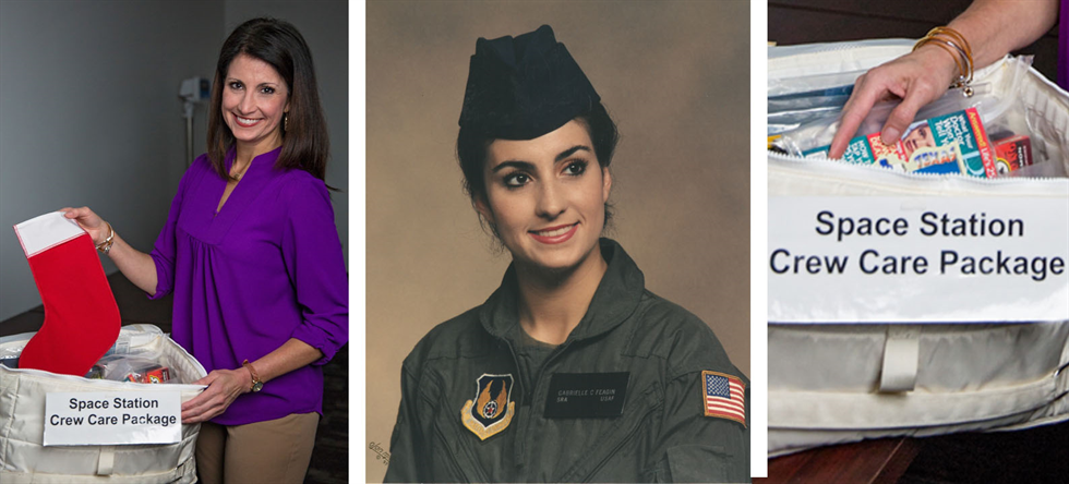 Then and now: Gabrielle Cole preparing a Christmas care package for astronauts aboard the International Space Station (left), and Cole in her Air Force uniform (center).
