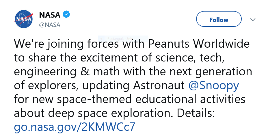 NASA Tweet announcing new Snoopy collaboration