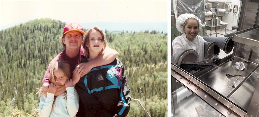 Then and now: Rachel Funk appreciating the outdoors with her family (left), and today working in Johnson Space Center's Meteorite Lab (right).
