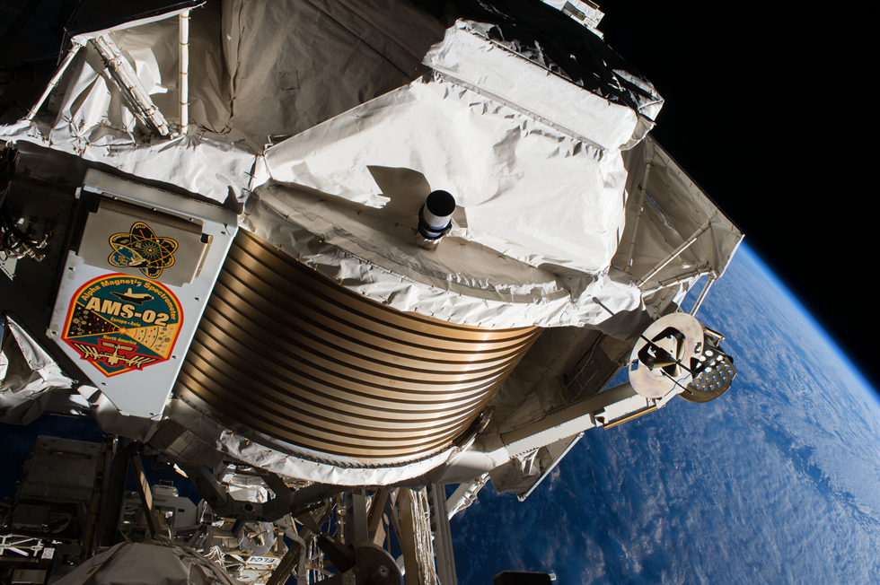 View of Alpha Magnetic Spectrometer - 02 (AMS-02) during Extravehicular Activity (EVA) 38. Photo was taken during Expedition 50.