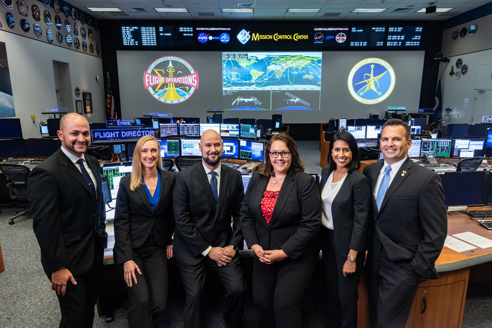 The 2018 Class of NASA Flight Directors for the Mission Control Center (L-R): Marcos Flores, Allison Bolinger, Adi Boulos, Rebecca Wingfield, Pooja Jesrani, and Paul Konyha.