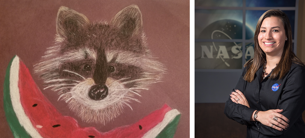 Then and now: Victoria Ugalde's drawing from grade school (left), and Ugalde today (right).