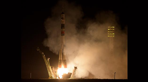 Soyuz Rocket Blasts Off to Station With Multinational Crew
