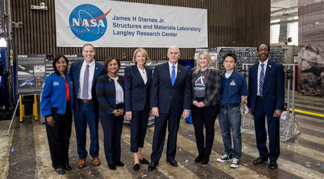Vice President Sees Acceleration to Artemis at Langley