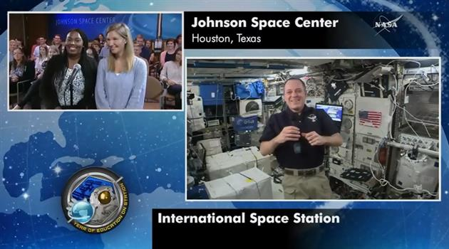 NASA interns connect with astronaut aboard space station