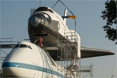 Independence rises to the occasion (atop a Shuttle Carrier Aircraft)