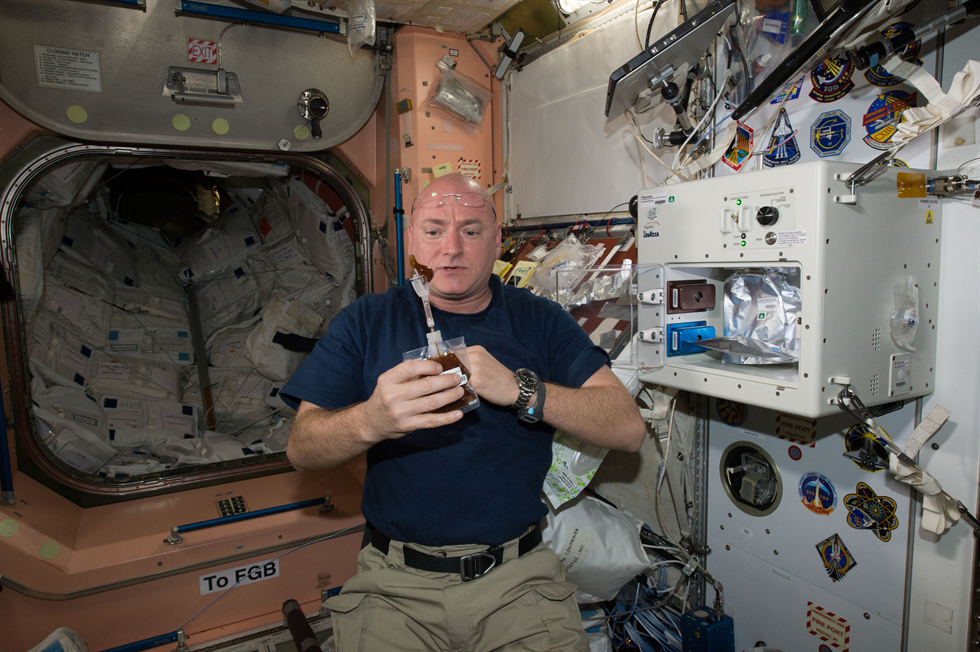 NASA astronaut Scott Kelly enjoys his first drink from the new ISSpresso machine Image Credit NASA