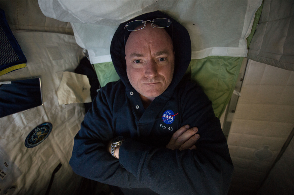 Kelly is photographed in his crew quarters Image sent as part of Twitter message My ninth SaturdayNight onboard Space_Station SaturdayFun YearInSpace Image Credit NASA