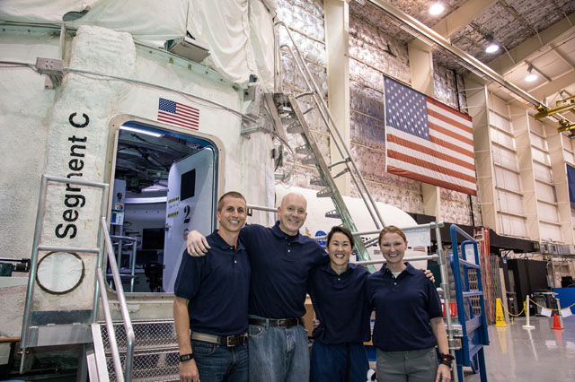 Daum with the  crew after a week-long mission in the Human Exploration Research Analog. Image Credit: NASA