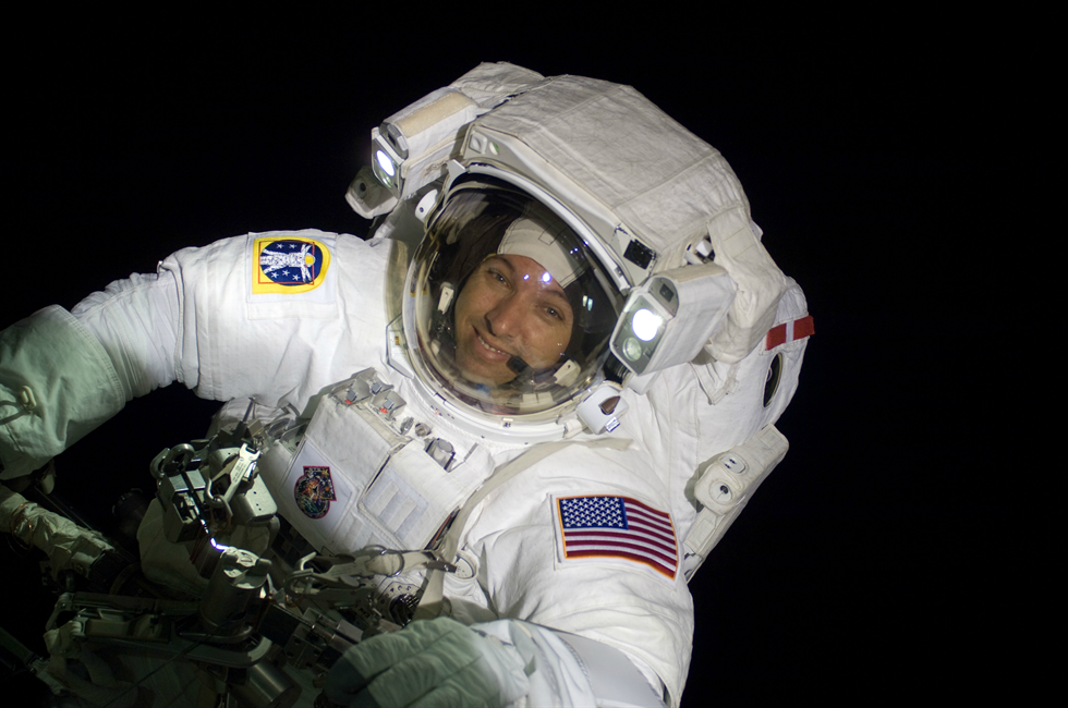 NASA astronaut Randy Bresnik, STS-129 mission specialist, participates in the mission's third and final spacewalk in November 2009. Image Credit: NASA