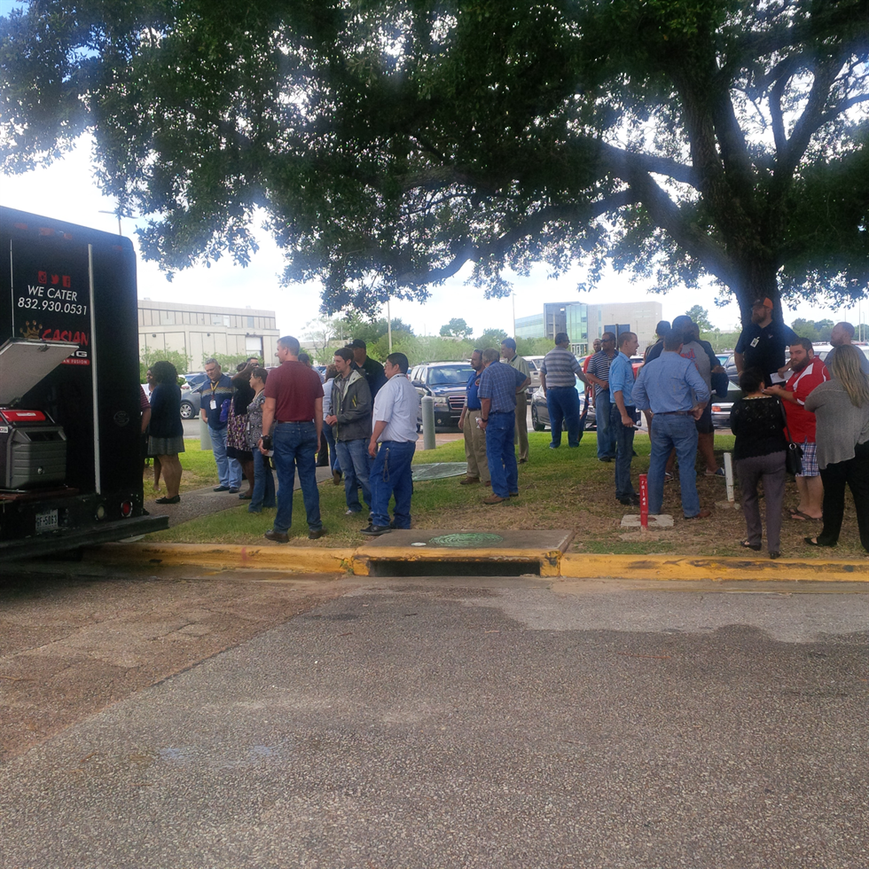 Food trucks kick off outside the Building 11 café with a good crowd of potential customers. Image Credit: NASA