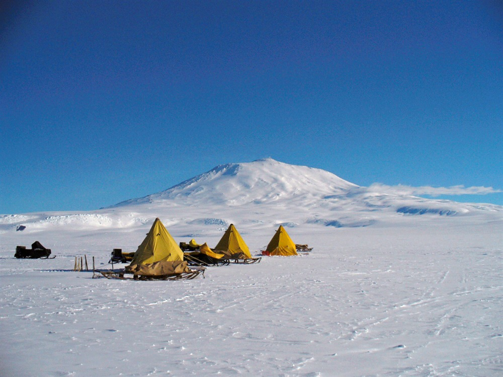 Training camp set up on the foothills of Mt. Erebus near McMurdo Station in the Antarctic. Image Credit: NASA
