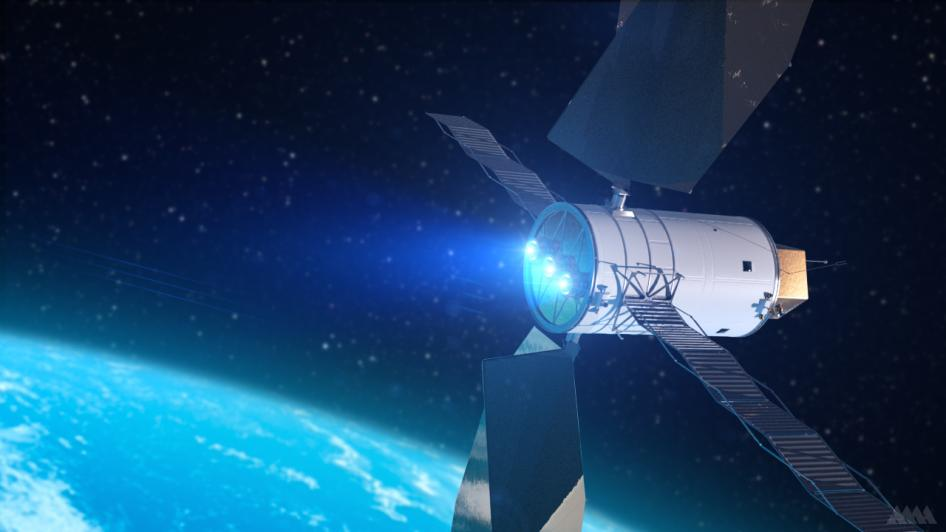 Artist's concept of a Solar Electric Propulsion System (SEP). Advanced SEP technologies are an essential part of future missions into deep space with larger payloads. Image credit: Analytical Mechanics Associates