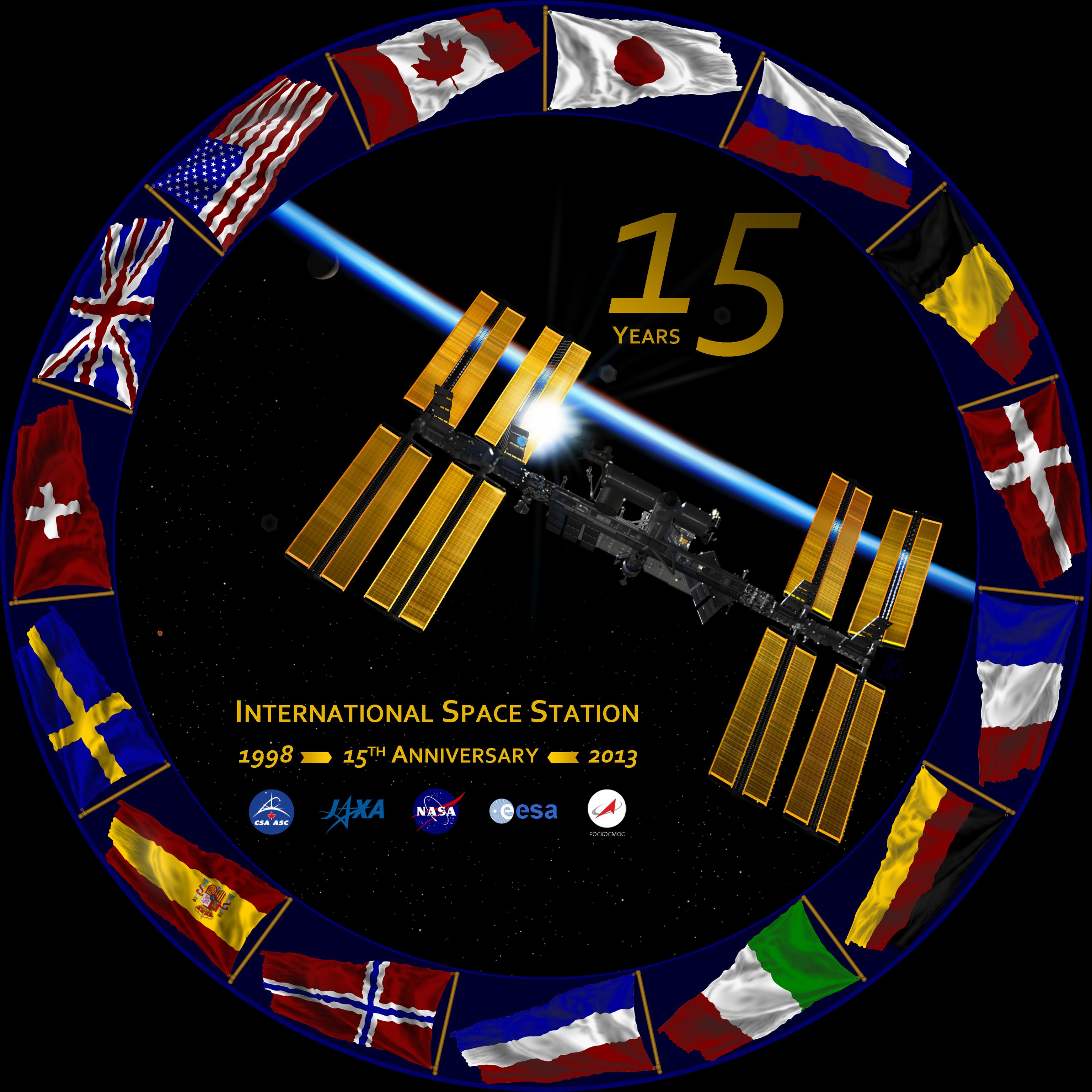 An International Space Station 15th anniversary logo, which Jansen completed using PowerPoint. Image Credit: NASA/Michael Jansen