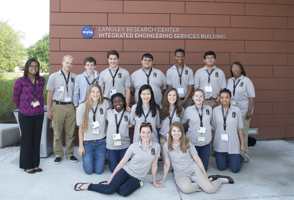 Nelson (sitting, bottom right) and VASTS students at Langley Research Center. Image courtesy of Brooke Nelson.