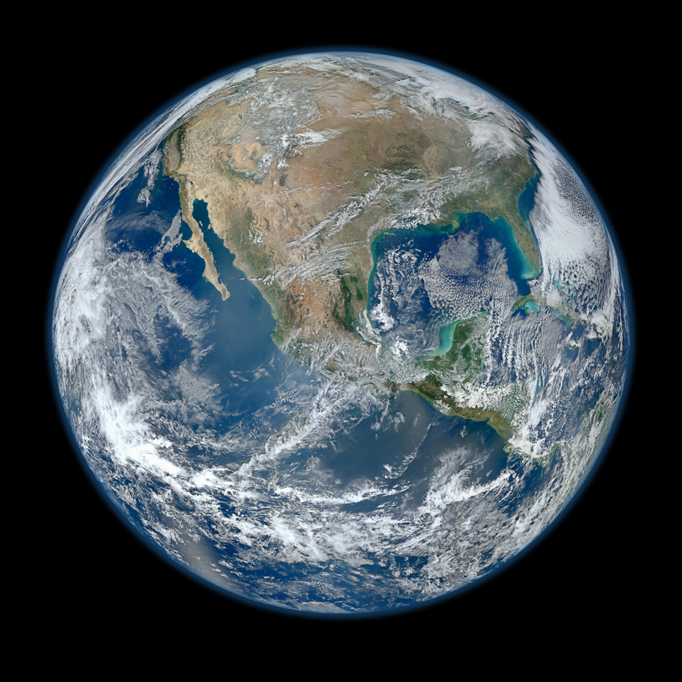 This Blue Marble Earth montage was created from photographs taken by the Visible/Infrared Imager Radiometer Suite instrument aboard the new Suomi NPP satellite. Many features of North America and the Western Hemisphere are particularly visible on a high-resolution version of this image. Image Credit: NASA