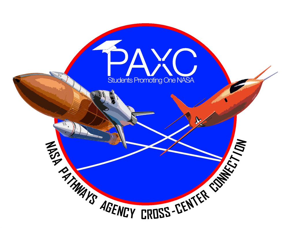 The official logo for the NASA Pathways Agency Cross-Center Connections — or PAXC — intern-led organization. The logo was designed by NASA Armstrong intern Loren Newton. Image Credit: NASA/Loren Newton