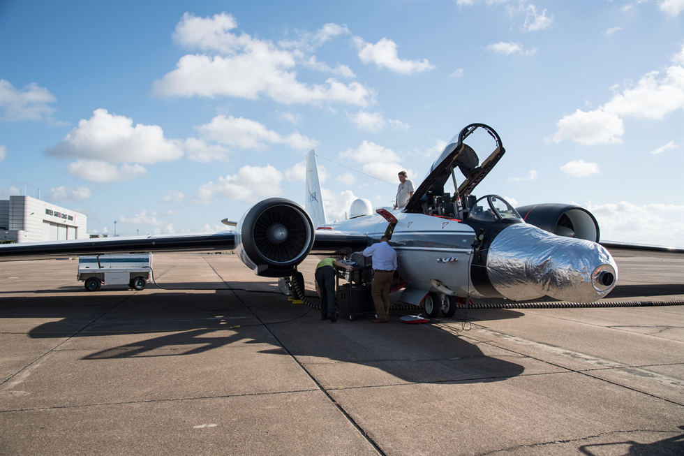 One of the WB-57 jets is readied for a test run at NASA's Johnson Space Center in Houston. The instruments are mounted under the silver casing on the nose of the plane. Image Credit: NASA/Norah Moran