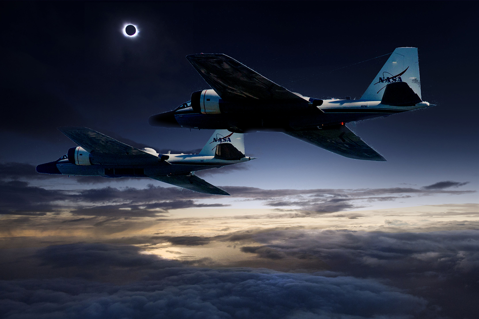 This photo illustration demonstrates that during the upcoming total solar eclipse, a team of NASA-funded scientists will observe the solar corona using stabilized telescopes aboard two of NASA's WB-57 research aircraft. Image Credit: NASA/Faroe Islands/SwRI