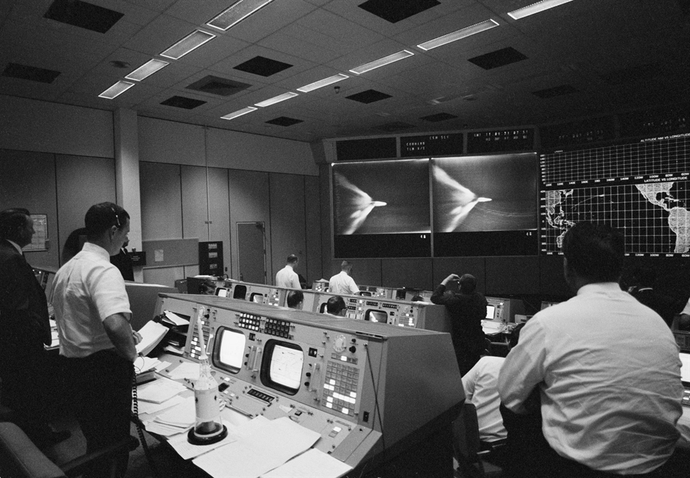 Flight controllers watch a replay of the launch in Mission Control in Houston, with Flight Director Glynn Lunney at left. Image Credit: NASA