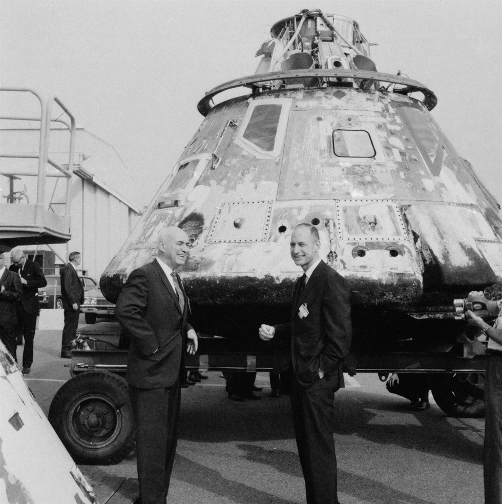 Manned Spacecraft Center Director Robert Gilruth (left) and Apollo Program Manager George Low (right) inspect the Apollo 4 spacecraft after its successful flight. Image Credit: NASA