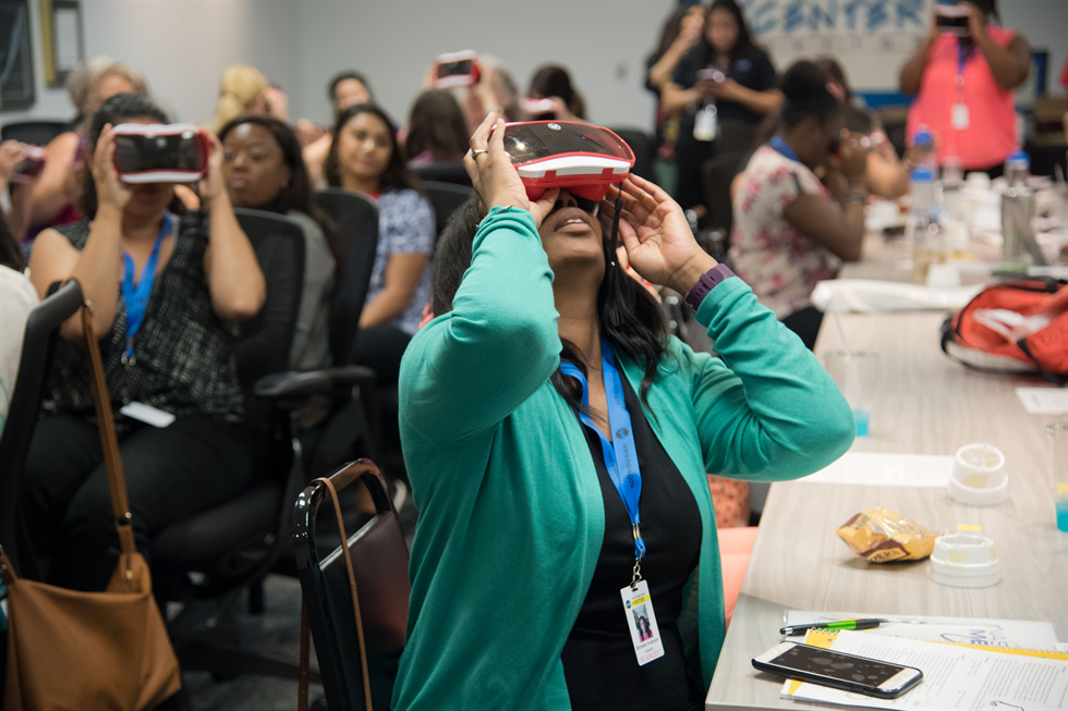 One teacher experiences virtual reality during a 2017 MEI workshop. Image Credit: NASA/Allison Bills