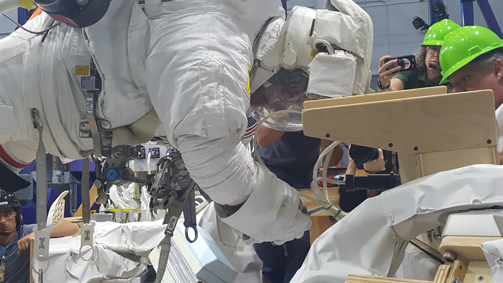 NASA astronaut Chris Cassidy conducts additional tests with the student-designed zip-tie cutter on the Active Response Gravity Offload System, or ARGOS. Image Credit:  NASA