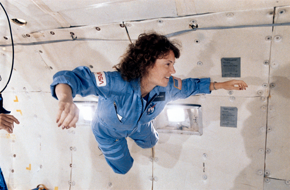 Christa McCauliffe training for her mission with the goal of sharing educational materials with students and teachers across the globe. Credit: NASA