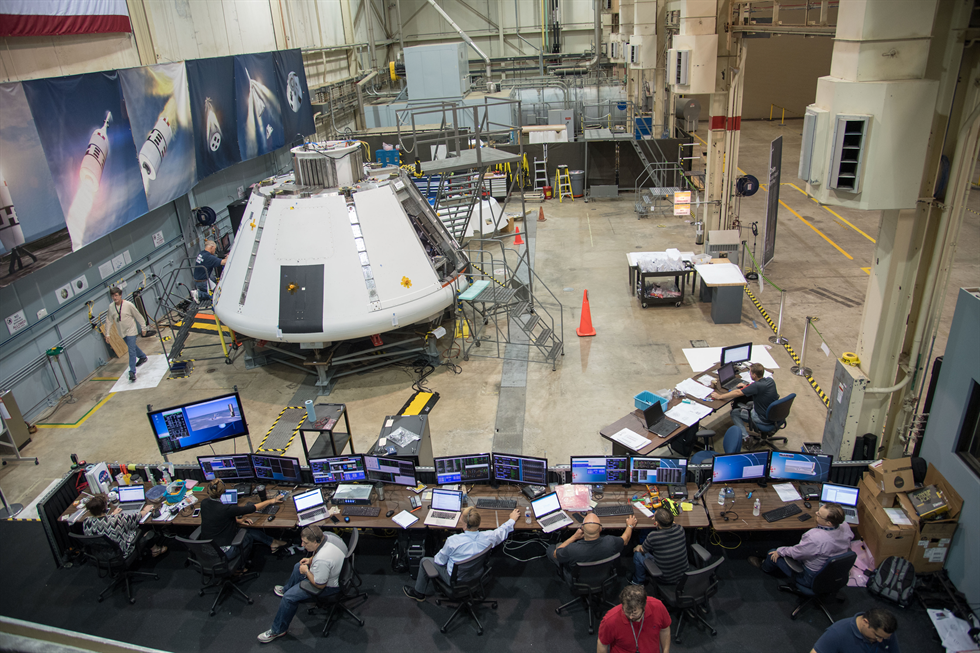Partial view of the flight control training room for the AA-2 flight test. Credit: NASA