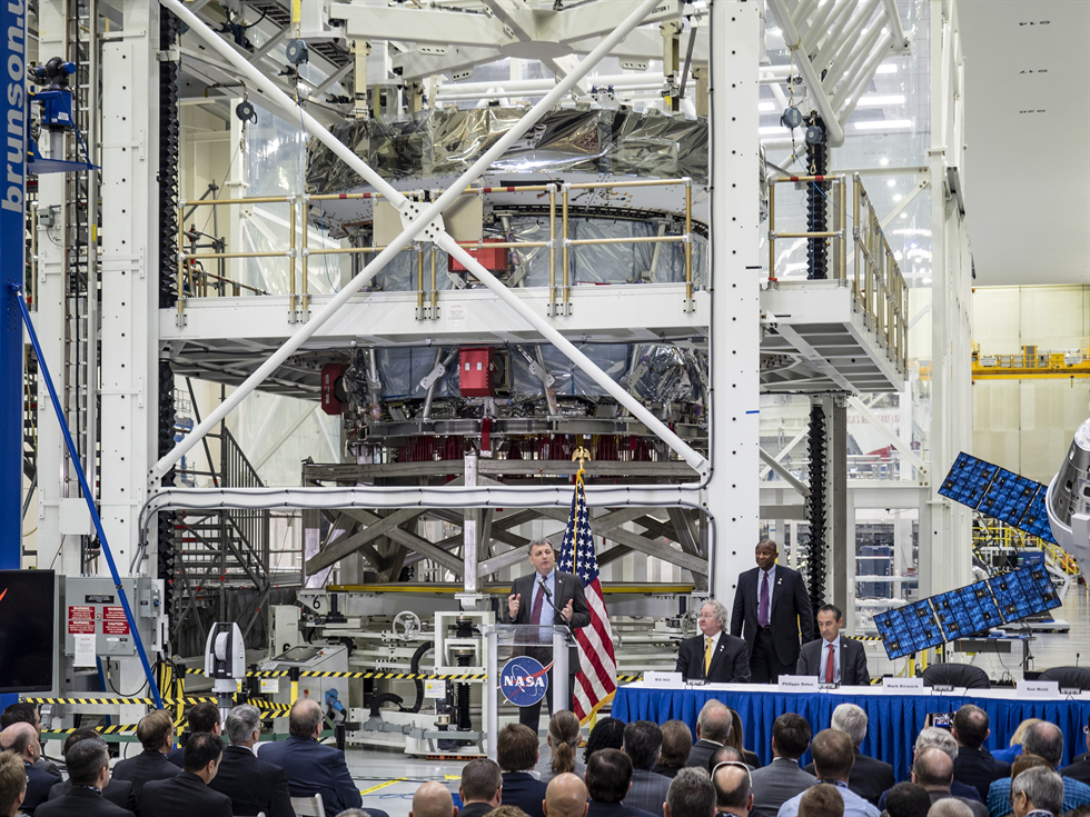 Orion Program Manager Mark Kirasich delivers remarks during a live broadcast of the European Service Module delivery event at Kennedy's Neil Armstrong Operations and Checkout Facility.