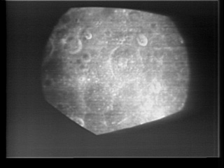 Still image from the first TV transmission from lunar orbit.