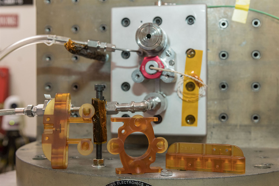 The high pressure system during qualification vibration testing at ESTA. Image Credit: NASA