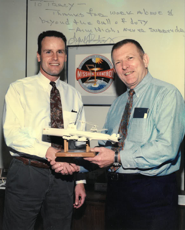 Minish is recognized for his work in Mission Operations by none other than NASA legend Gene Kranz. Image courtesy of Tracy Minish.
