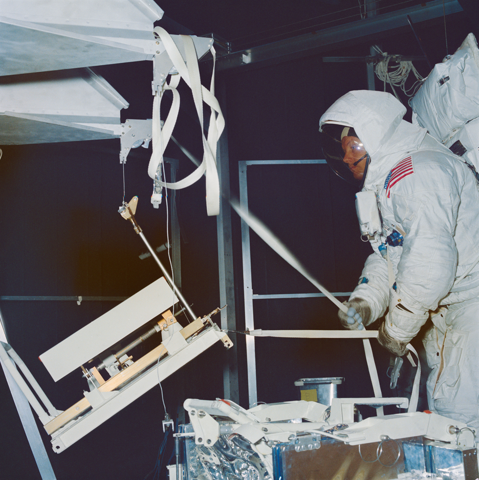 Astronaut Neil Armstrong practices during an ambient run in the SESL's Chamber B. Image Credit: NASA