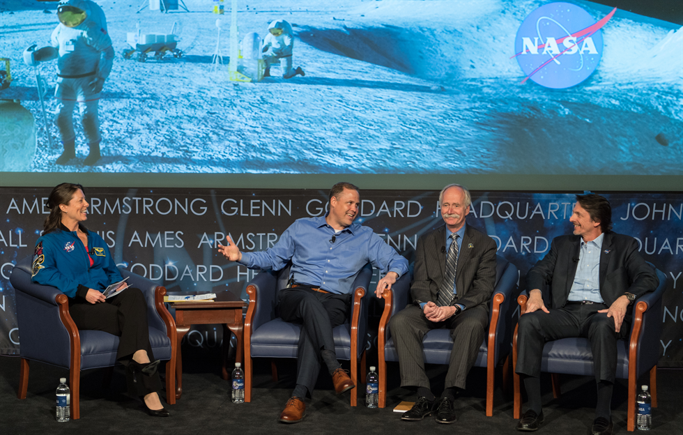 From left, moderator Tracy Caldwell Dyson engages with Jim Bridenstine, William Gerstenmaier and Steven Clarke. Image Credit: NASA