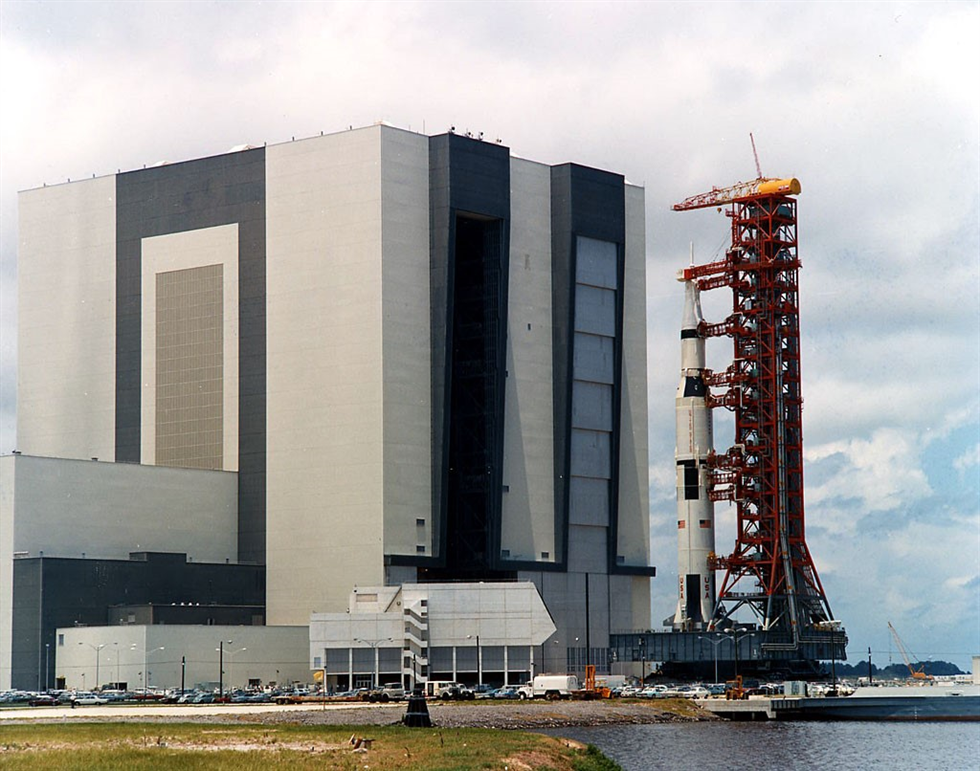 The Saturn V rocket that would carry Apollo 11 on its historic mission shortly after leaving the VAB for Launch Pad 39A. Image Credit: NASA
