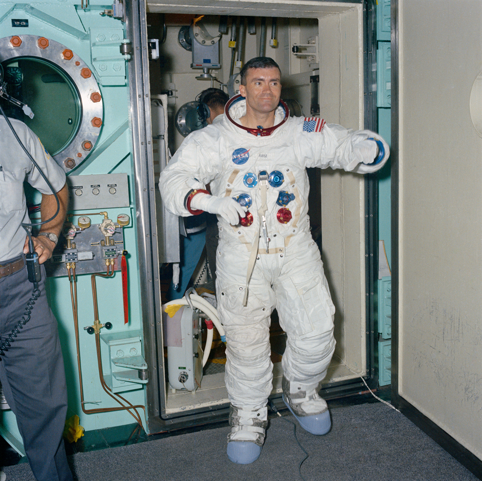 Backup Apollo 11 Lunar Module Pilot Fred W. Haise emerges from the altitude chamber after completing a spacewalk training run. Image Credit: NASA