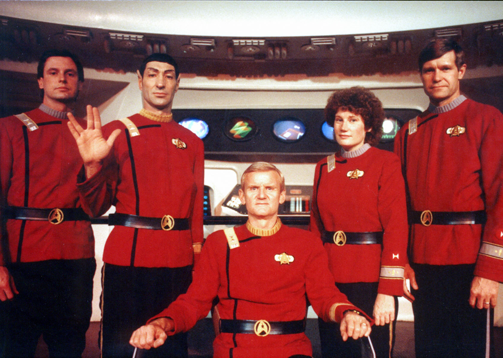 The STS-54 crew of the Space Shuttle Endeavour dressed as 'Star Trek' officers. Image Credit: NASA