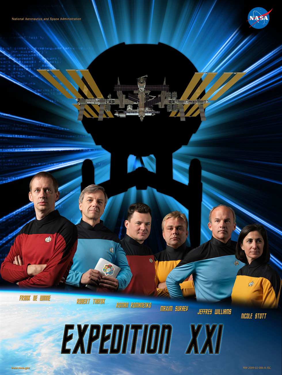 The Space Flight Awareness (SFA) poster for the Expedition 21 crew. Image Credit: NASA