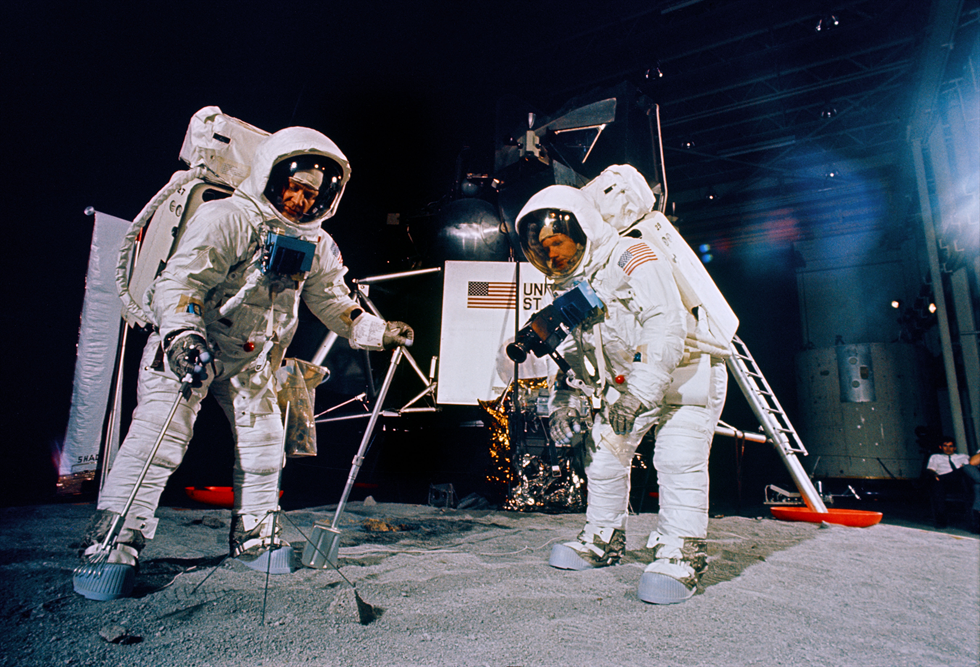 Apollo 11 astronauts Aldrin (left) and Armstrong during a training session for their lunar spacewalk at MSC on June 5. Image Credit: NASA