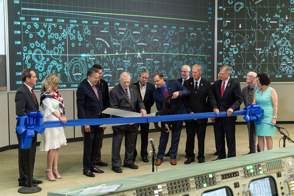 A ribbon-cutting ceremony on June 28 unveiled the newly restored (to look like 1969) Apollo Mission Control Center. Image Credit: NASA Robert Markowitz