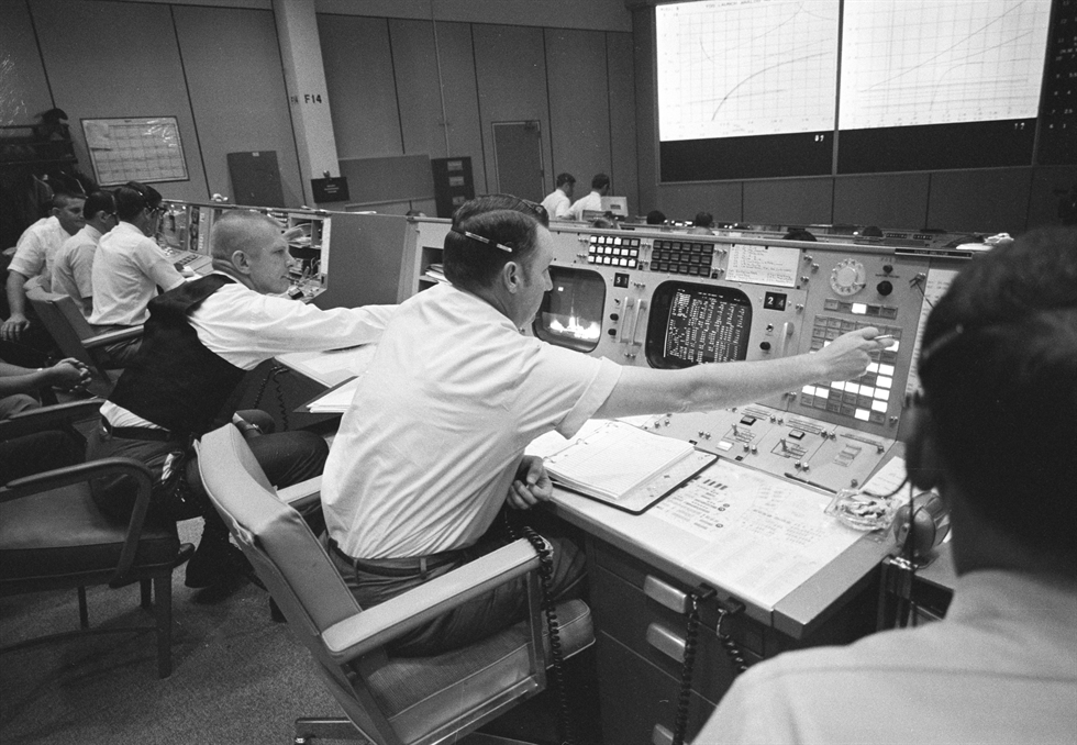 Flight Director Clifford Charlesworth in the MCC during Apollo 11's launch. Image Credit: NASA